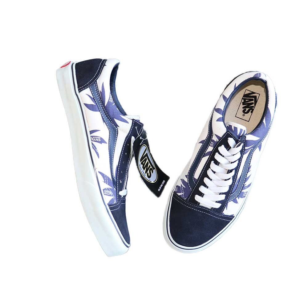 w-means(ダブルミーンズ) VANS Old Skool(Vulcanized)表記10.5 Navy/Wht w/Nvy Palm Leaf J80 詳細画像6