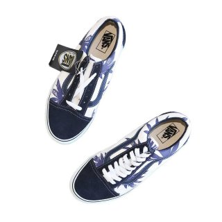 VANS Old Skool(Vulcanized)表記10.5 Navy/Wht w/Nvy Palm Leaf J80