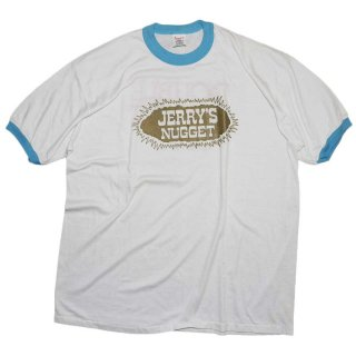 80's JERRY'S NUGGET トリムTシャツ(アメリカ製)表記xL 白×水色