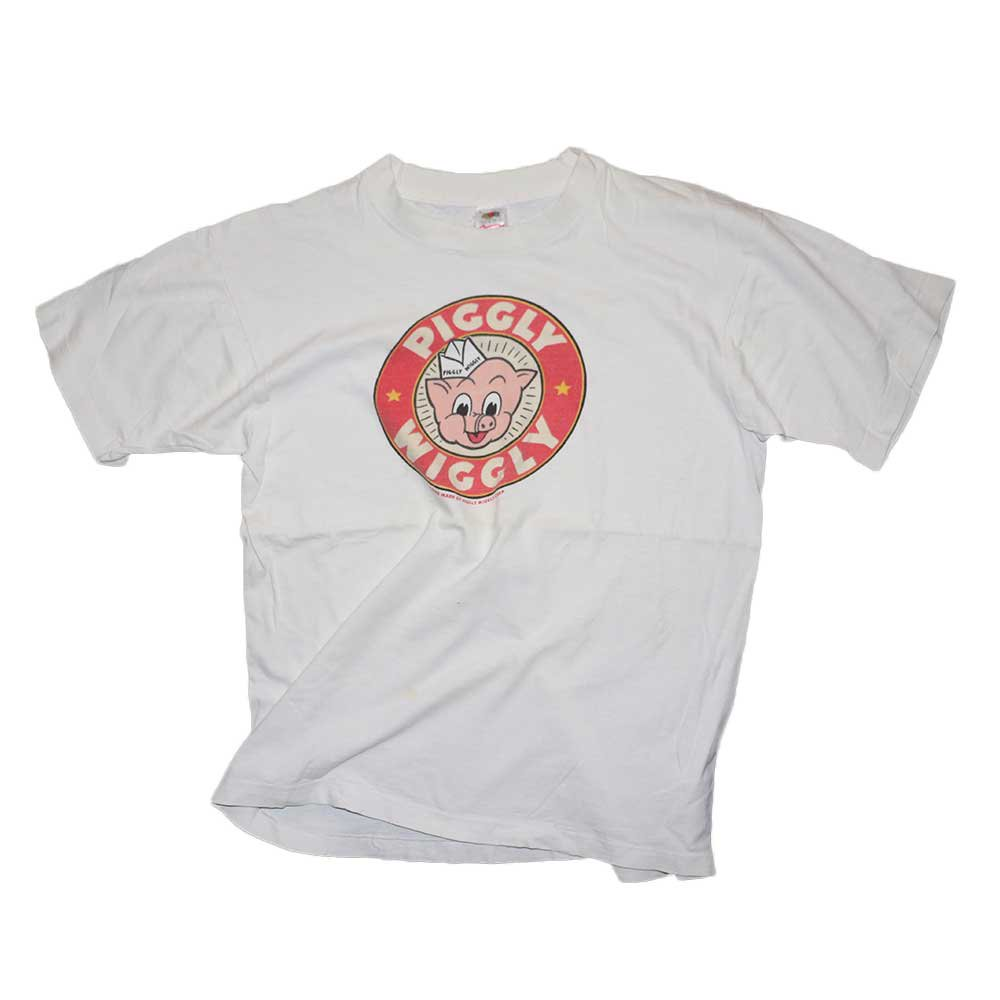 w-means(ダブルミーンズ) PIGGLY WIGGLY コットンTシャツ(made in U.S.A.)表記L  white 詳細画像