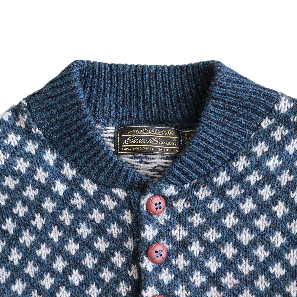 w-means(ダブルミーンズ) Eddie Bauer  WOOL KNIT SWEATER(made in U.S.A.)表記M ソウ柄 詳細画像2