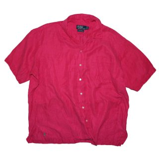 Polo Ralph Lauren Silk × Linen 半袖シャツ  表記xL  shocking pink