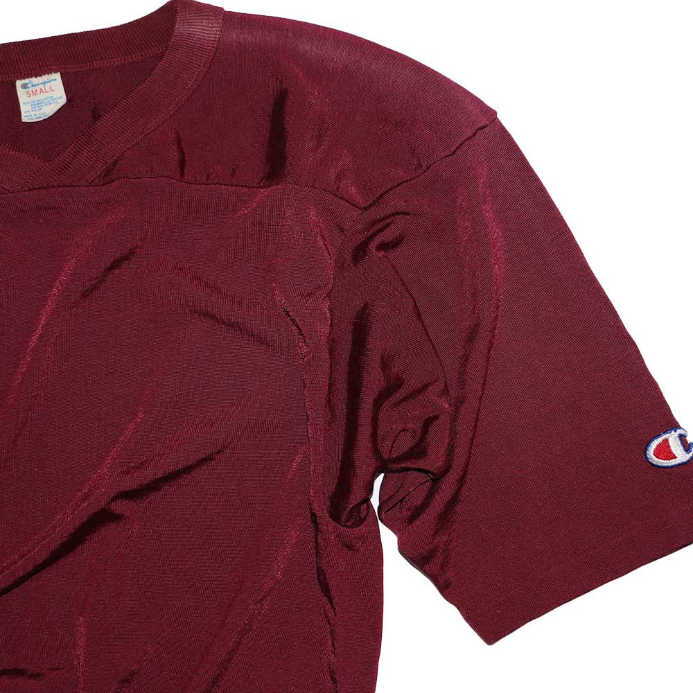 w-means(ダブルミーンズ) Champion 50/50 ナイロンフットボールシャツ(Made in U.S.A.)表記S  Burgundy 詳細画像2