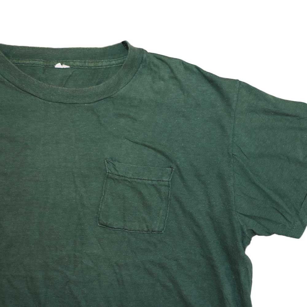 w-means(ダブルミーンズ) 70's Allcotton Pocket 半袖Tシャツ( Made in U.S.A.)表記 L  ForestGreen 詳細画像1