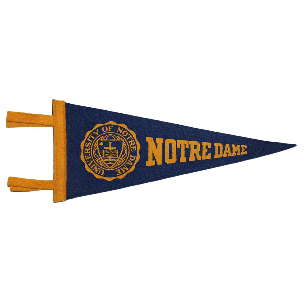 w-means(ダブルミーンズ) NORTRE DAME大学 PENNANT  D.NAVY×YELLOW 詳細画像