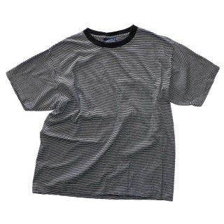 BASIC EDITIONS コットン半袖Tシャツ(Made in U.S.A.)表記L  ボーダー柄
