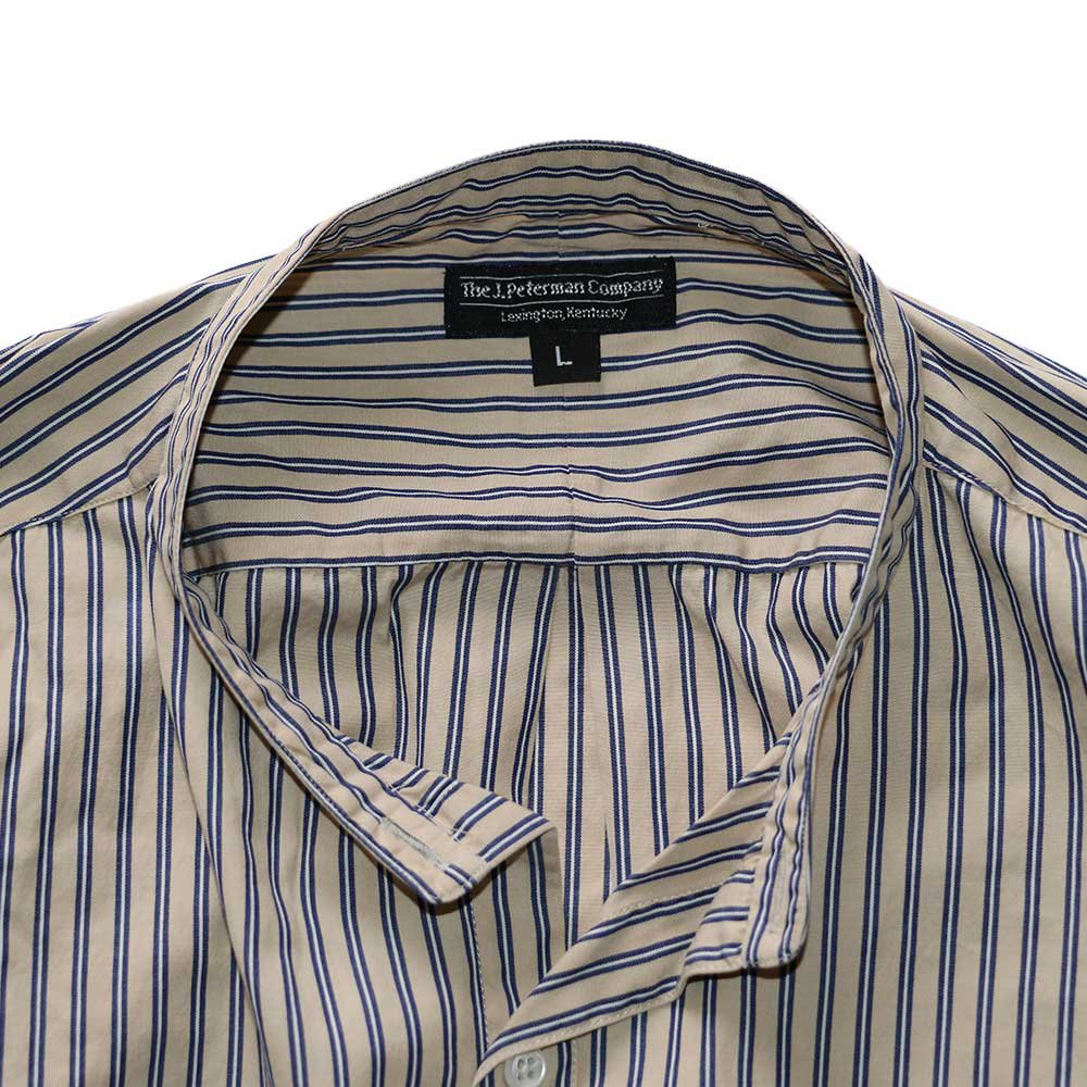 w-means(ダブルミーンズ) The J.Peterman Company 100% cotton shirt (Made in U.S.A.)表記L  ストライプ柄 詳細画像2