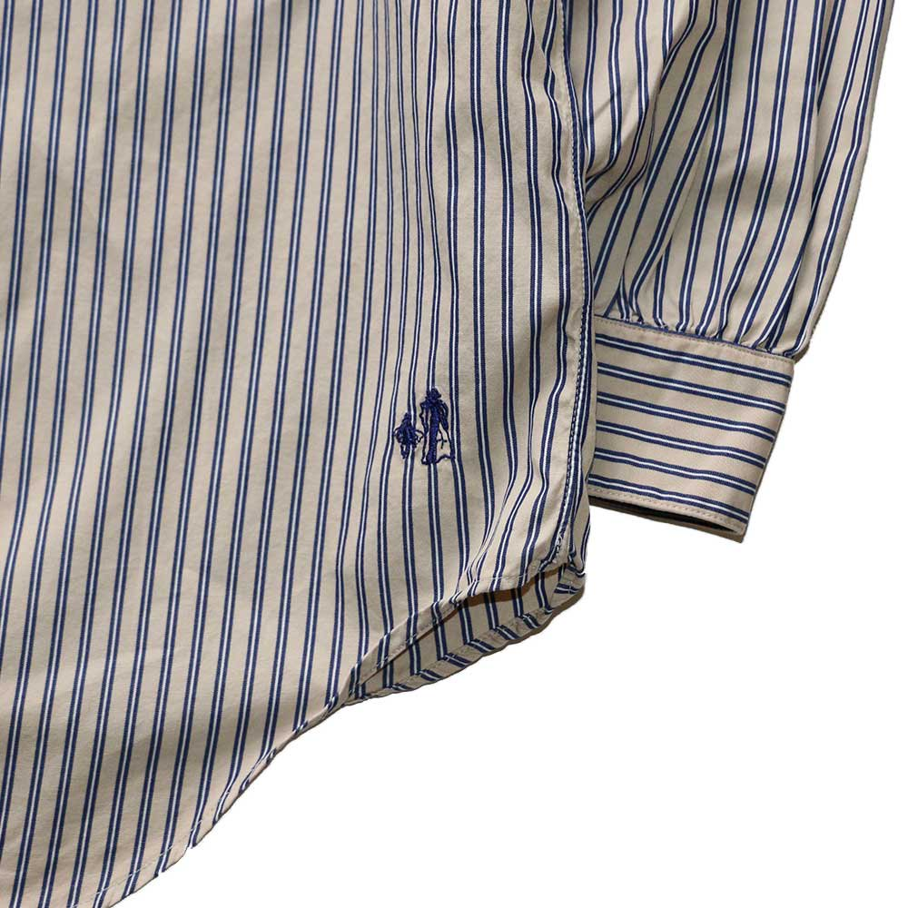 w-means(ダブルミーンズ) The J.Peterman Company 100% cotton shirt (Made in U.S.A.)表記L  ストライプ柄 詳細画像3