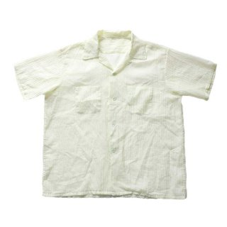 unknown 60's vintage nylon s/s shirt 表記なし 薄卵色