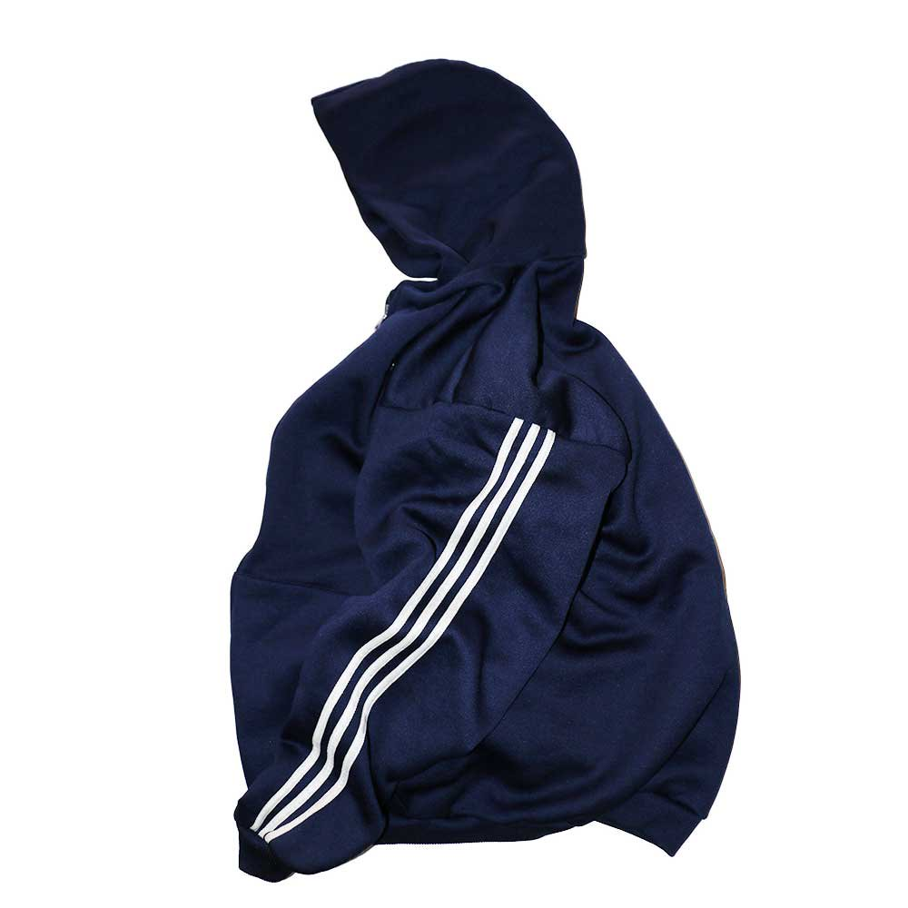 w-means(ダブルミーンズ) adidas ポリエステルフルジップフードパーカ(Made in U.S.A.)表記L  D.Navy 詳細画像
