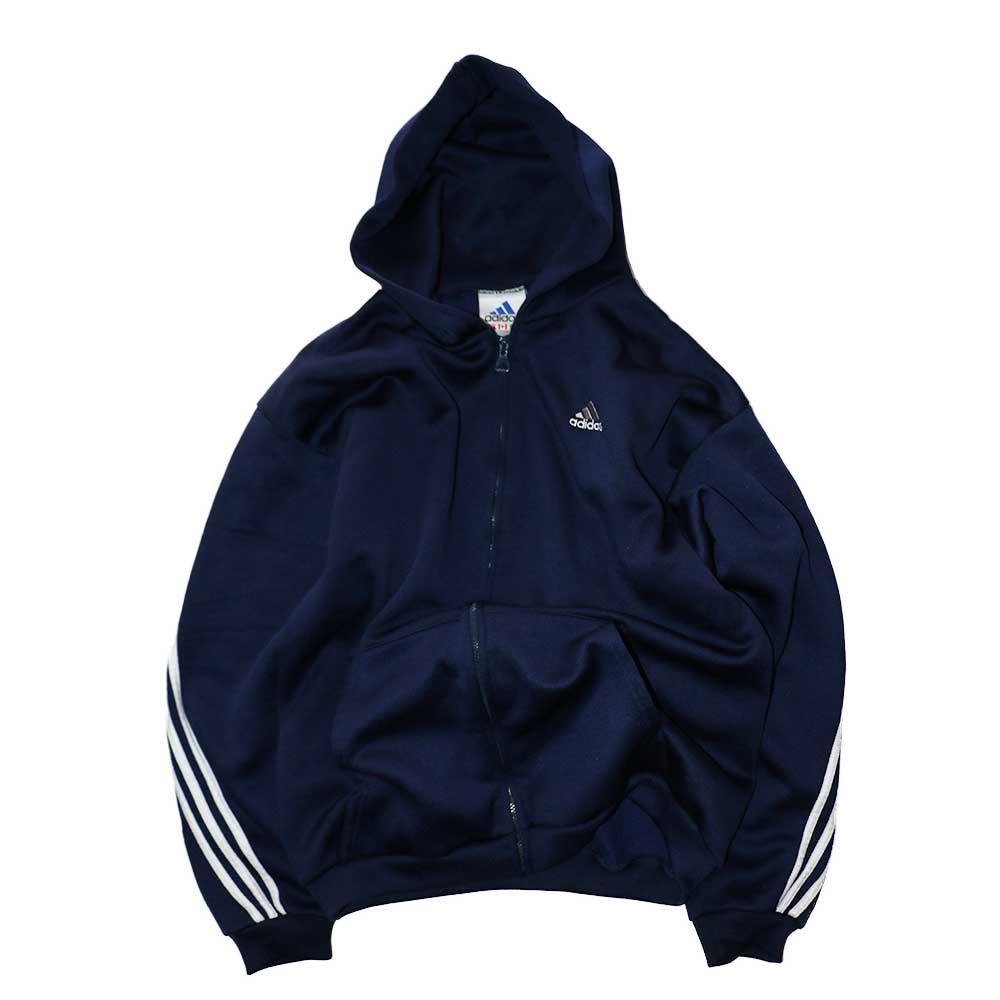w-means(ダブルミーンズ) adidas ポリエステルフルジップフードパーカ(Made in U.S.A.)表記L  D.Navy 詳細画像1