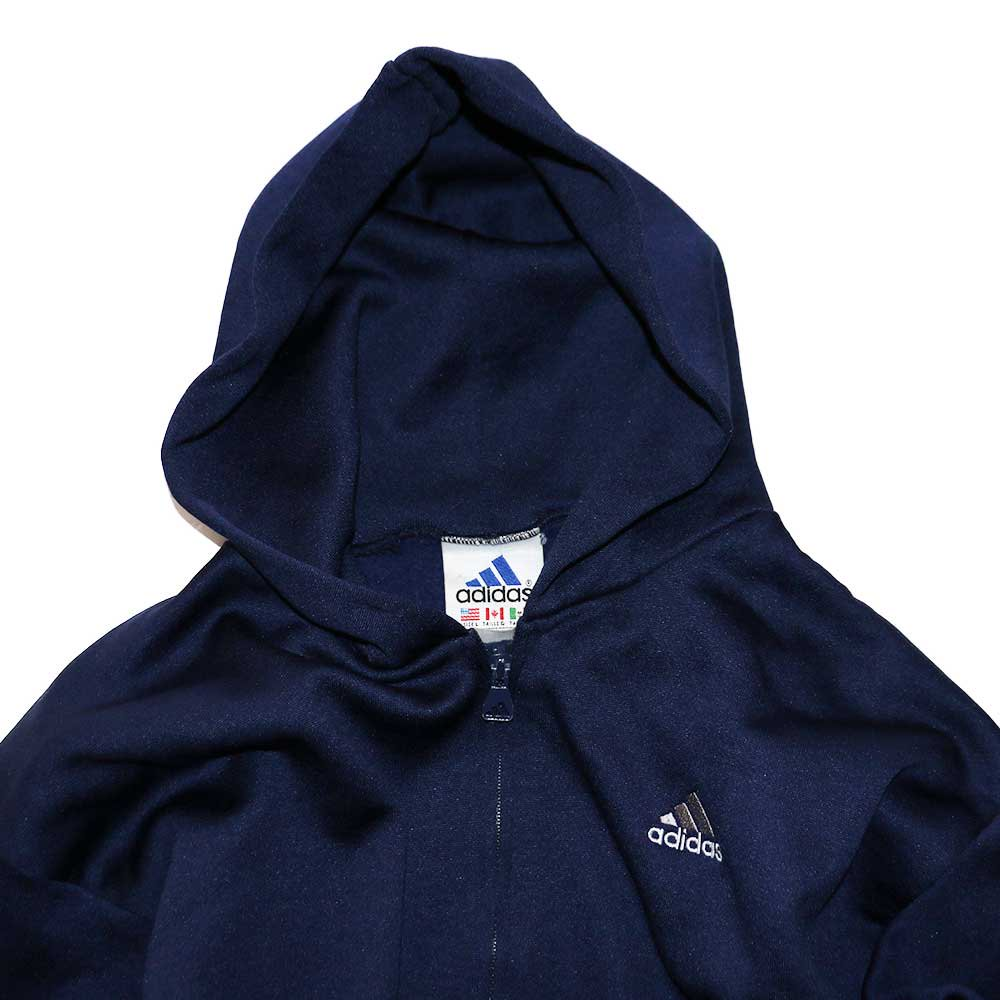w-means(ダブルミーンズ) adidas ポリエステルフルジップフードパーカ(Made in U.S.A.)表記L  D.Navy 詳細画像3