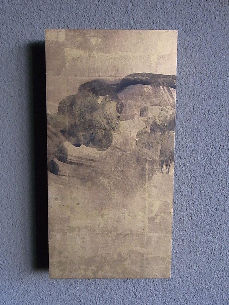 Masaオリジナル時代屏風パネル ® 18 121 4  金地石景図