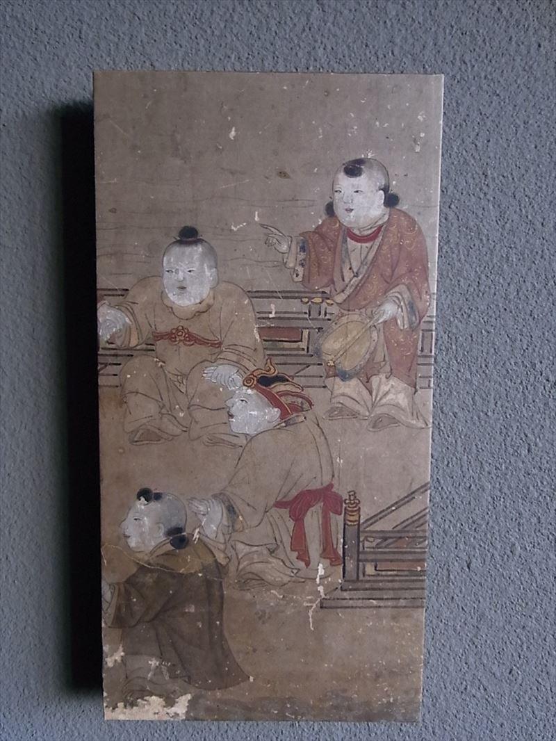 Masaオリジナル時代屏風パネル ® 18 121 13 狩野派唐子遊景図