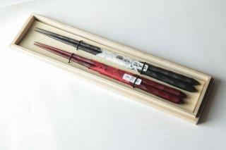 手彫り箸 桐箱付夫婦セット
