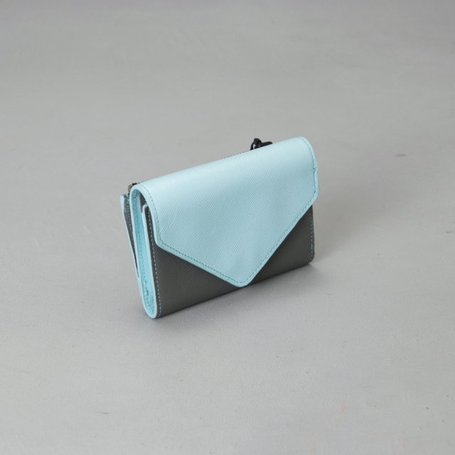 GF&CO. 三つ折り財布 LIGHT BLUE×GRAY