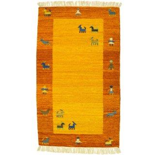インド ウールダリー オレンジ系 約70×120cm