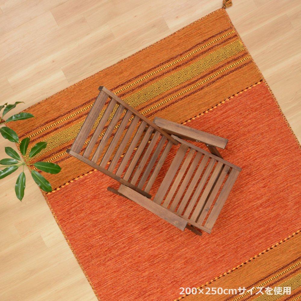 インド綿ラグ サリー(オリジナル) オレンジ