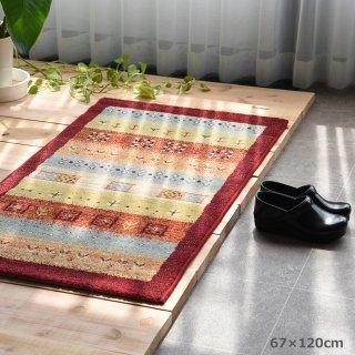 ベルギー製 ギャッベ (機械織り) 「インフィニティ」 玄関マット レッド系