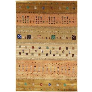 ペルシャン ギャッベ柄 ウィルトン織カーペット 「ロシャン」 155×225cm ゴールド