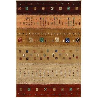 ペルシャン ギャッベ柄 ウィルトン織カーペット 「ロシャン」 155×225cm ライトブラウン