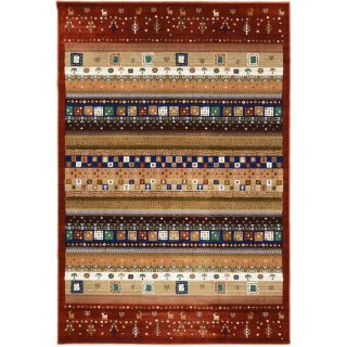 ペルシャン ギャッベ柄 ウィルトン織カーペット 「ロシャン」 155×225cm レッド