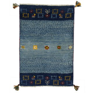 ペルシャンギャッベ 玄関マット60×90サイズ ブルー系 約61×89cm