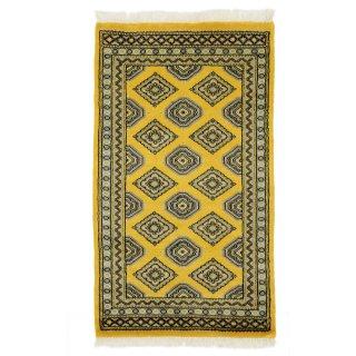 パキスタン 手織 ウール 絨毯 9×16 ゴールド・イエロー系 玄関マットサイズ 約71×102cm
