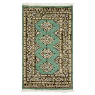 パキスタン 手織 ウール 絨毯 9×16 グリーン系 玄関マットサイズ 約77×127cm