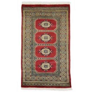 パキスタン 手織 ウール 絨毯 9×16 レッド系 玄関マットサイズ 約74×125cm