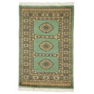 パキスタン 手織 ウール 絨毯 9×16 グリーン系 玄関マットサイズ 約78×118cm