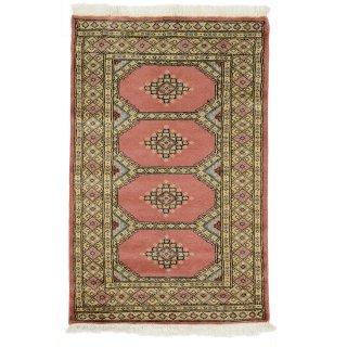 パキスタン 手織 ウール 絨毯 9×16 ピンク系 玄関マットサイズ 約78×122cm