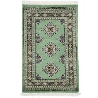 パキスタン 手織 ウール 絨毯 9×16  グリーン系 玄関マットサイズ 約61×95cm