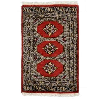 パキスタン 手織 ウール 絨毯 9×16  レッド系 玄関マットサイズ 約62×96cm