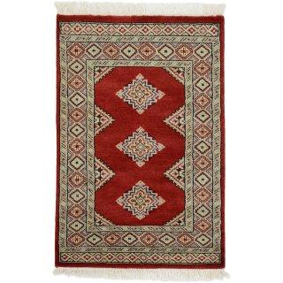 パキスタン 手織 ウール 絨毯 9×16  レッド系 玄関マットサイズ 約63×94cm