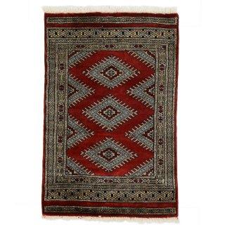 パキスタン 手織 ウール 絨毯 9×16  レッド系 玄関マットサイズ 約60×92cm