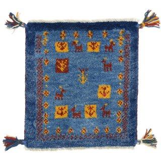 ペルシャンギャッベ ブルー系 座布団サイズ 約41.4×38.3cm