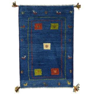 ペルシャンギャッベ 玄関マットサイズ ブルー系 約57×85cm