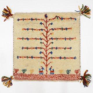 ペルシャンギャッベ ベージュ系 座布団サイズ 約36×35.5cm