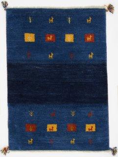 ペルシャンギャッベ ザロチャラク 玄関マット80×120サイズ 83×115cm ブルー系