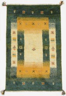 ペルシャンギャッベ ザロチャラク 玄関マット80×120サイズ 80×123cm グリーン系