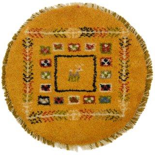 ペルシャンギャッベ ねこギャベ イエロー系 円形 座布団サイズ 直径約40cm