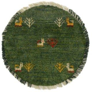 ペルシャンギャッベ ねこギャベ グリーン系 円形 座布団サイズ 直径約38cm