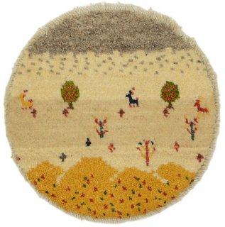 ペルシャンギャッベ ねこギャベ ベージュ系 円形 座布団サイズ 直径約38cm