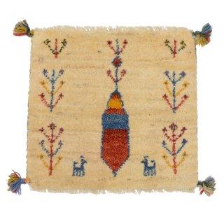 ペルシャンギャッベ ベージュ系 座布団サイズA 約44.5×42cm