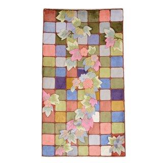 高級手織りシルク緞通 120段 玄関マット 2.25×4 約70×120cm 40031