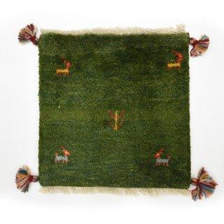 ペルシャンギャッベ グリーン系 座布団サイズ 約41×40.5cm