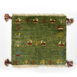 ペルシャンギャッベ グリーン系 座布団サイズ 約38×42.5cm