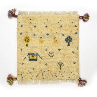 ペルシャンギャッベ ベージュ系 座布団サイズ 約39.5×39cm