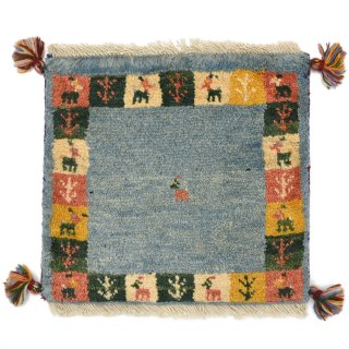 ペルシャンギャッベ ブルー系 座布団サイズ 約42×38.5cm